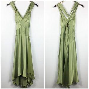 Silk Swing Formal Dress Green Fit Flare Cache 2